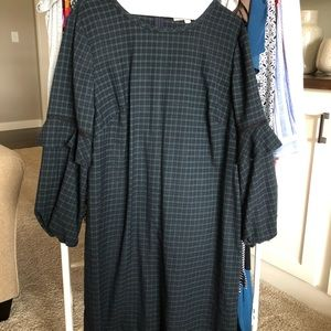LOFT plaid shift dress